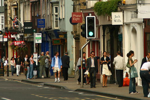Photo of oxford high street shopping and tourists