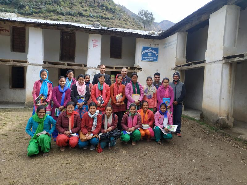 BA students and their teachers with KA and GN at Khapardev Campus, Kalukheti, Bajhang district (2020)