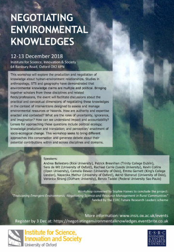 negotiating environmental knowledges workshop dec